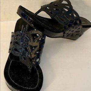 Donald J. Pliner Shoes - Donald J Pilcher women's black wedge slip on 7.5